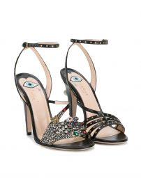 Gucci crystal hand applique embellished sandals at Farfetch