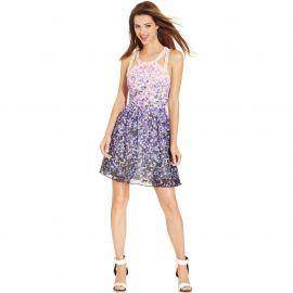 Guess Printed Cutout Halter Dress at Macys