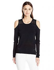 Guess Women s Long Sleeve Casandra Mesh Stripe Pullover at Amazon