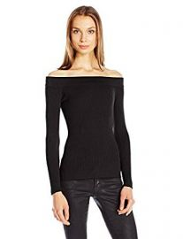 Guess Women s Off Shoulder Rib Sweater at Amazon
