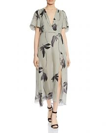 HALSTON HERITAGE Botanical-Print Silk Midi Dress at Bloomingdales