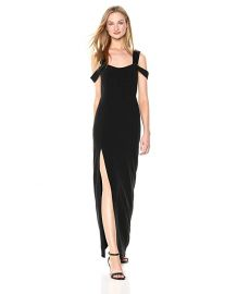 HALSTON HERITAGE Cold Shoulder Open Neck Fitted Crepe Gown at Amazon