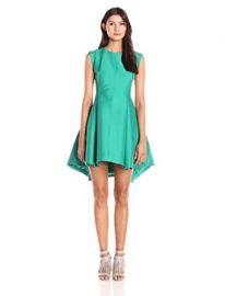 HALSTON HERITAGE Women s Cap-Sleeve Faille Dress with Back Keyhole at Amazon