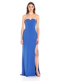 HALSTON HERITAGE Women s Strapless Gown with High Slit at Amazon