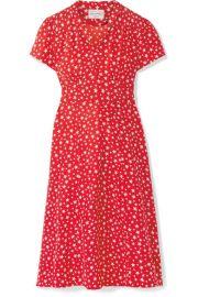 HVN   Morgan printed silk crepe de chine dress at Net A Porter