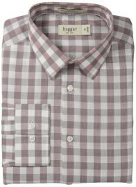 Haggar Menand39s Mechanical Stretch Gingham Fancy Poplin Long Sleeve Shirt in merlot at Amazon