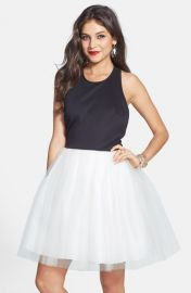 Hailey by Adrianna Papell T-back Mixed Media Fit andamp Flare Dress at Nordstrom