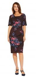 Half Sleeve Draped Floral Sheath Dress with V-Back at Adrianna Papell