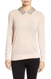 Halogen   Embellished Collar Sweater  Regular   Petite at Nordstrom