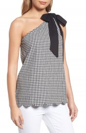 Halogen   One-Shoulder Stretch Cotton Top at Nordstrom