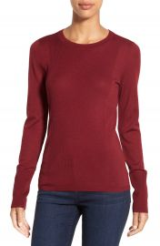Halogen   Rib Detail Lightweight Merino Wool Sweater  Regular   Petite at Nordstrom