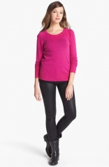 Halogen Long Sleeve Crewneck Cashmere Sweater in pink at Nordstrom