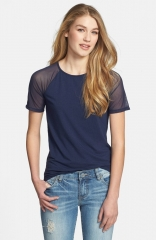 Halogen Mesh Inset Short Sleeve Tee in navy at Nordstrom