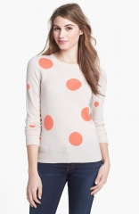 Halogen Novelty Wool andamp Cashmere Crewneck Pullover in polka dot at Nordstrom
