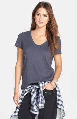 Halogen Relaxed Slub Knit Tee in grey at Nordstrom