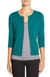 Halogen Three Quarter Sleeve Cardigan in Green Storm at Nordstrom