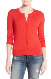 Halogen Three Quarter Sleeve Cardigan in Red at Nordstrom