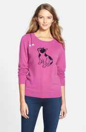 Halogenand174 Cashmere Crewneck Sweater in Purple Dog Pattern at Nordstrom