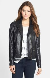 Halogenand174 Front Zip Leather Jacket at Nordstrom
