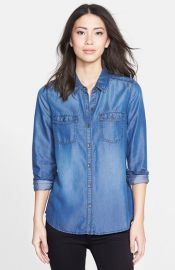 Halogenand174 Long Sleeve Chambray Shirt at Nordstrom