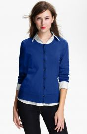 Halogenand174 Three Quarter Sleeve Cardigan in Blue at Nordstrom