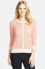 Halogenand174 Three Quarter Sleeve Cardigan in Coral at Nordstrom