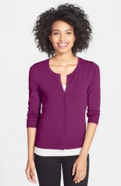 Halogenand174 Three Quarter Sleeve Cardigan in Purple at Nordstrom