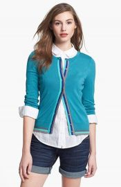 Halogenand174 Three Quarter Sleeve Cardigan in green stripe trim at Nordstrom