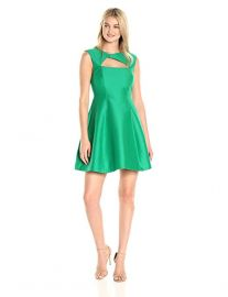 Halston Heritage Women s Cap Sleeve Asymmetrical V Neck Dress With Geometric Cut Out green at Amazon