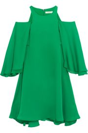 Halston Heritage   Cold-shoulder ruffled twill mini dress at Net A Porter
