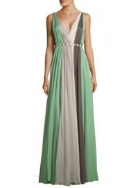 Halston Heritage - V-Neck Pleated Gown at Saks Off 5th