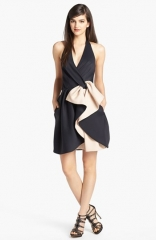 Halston Heritage Bow Detail Halter Fit andamp Flare Dress at Nordstrom