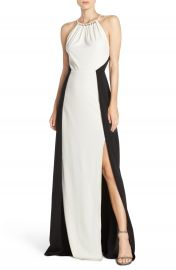 Halston Heritage Colorblock Crepe Gown at Nordstrom