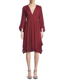 Halston Heritage Flowy Bishop Sleeve Ruched Dress at Neiman Marcus
