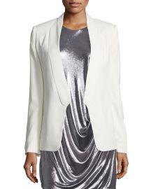 Halston Heritage Long Slim Tuxedo Jacket w  Satin Lapel  Chalk at Neiman Marcus