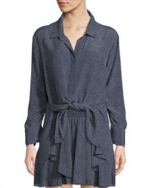 Halston Heritage Ruched-Sleeve Dot-Print Tie-Front Shirt at Neiman Marcus