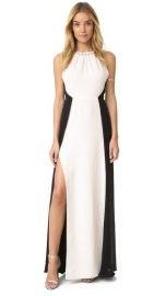 Halston Heritage Shirred Neck Colorblock Gown at Shopbop