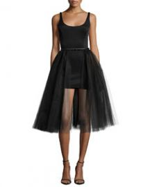 Halston Heritage Sleeveless Belted Cocktail Dress w Tulle Overlay Black at Neiman Marcus