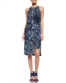 Halston Heritage Sleeveless Feather-Print Tiered-Hem Dress at Neiman Marcus
