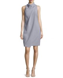 Halston Heritage Sleeveless Mock-Neck Draped-Front Dress  Slate Gray at Neiman Marcus