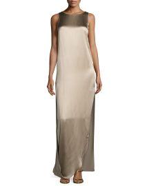 Halston Heritage Sleeveless Satin   Matte Column Gown  Oat at Neiman Marcus