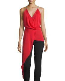 Halston Heritage Sleeveless V-Neck Draped High-Low Top  Scarlet at Neiman Marcus