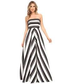 Halston Heritage Strapless Placement Print Structured Gown Black Eggshell Variegated Stripe Print at 6pm