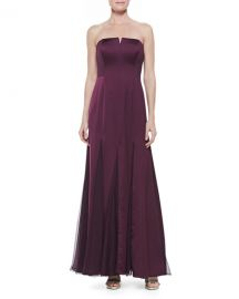 Halston Heritage Strapless Sheer-Inset Gown at Neiman Marcus