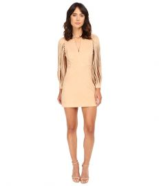 Halston Heritage Strappy Long Sleeve Ultrasuede Dress Sand at Zappos