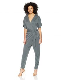 Halston Heritage Women s Kimono Sleeve V Neck Jumpsuit at Amazon