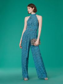 Halter Neck Belted Jumpsuit in Calloway Black at DvF