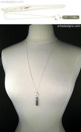 Hammered Circle Labradorite Tag Necklace at Arte Designs
