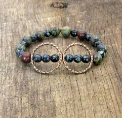 Hammered Double Circle Stretch Bracelet with Dragon's Blood Jasper and Czech Glass Beads at Etsy