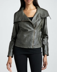 Hand Rubbed Wide Collar Leather Jacket at Last Call